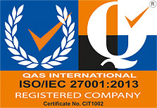 The logo for QAS International's ISO/IEC 27001:2013 certification