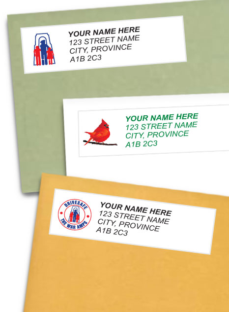 Collage of address label styles available to order.